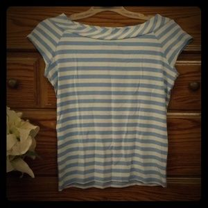 Striped boat neck shirt by:Express